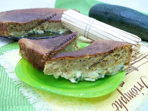 Пирог из ржаной муки и кабачка в духовке