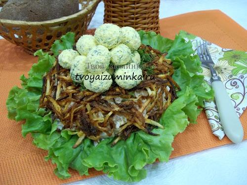 Праздничный салат «Гнездо глухаря», рецепт с фото пошагово