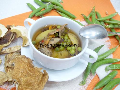 Грибной суп из сушеных грибов с картофелем