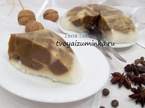"""Желейный торт без выпечки """"Кофе с молоком"""": рецепт с пошаговыми фото"""