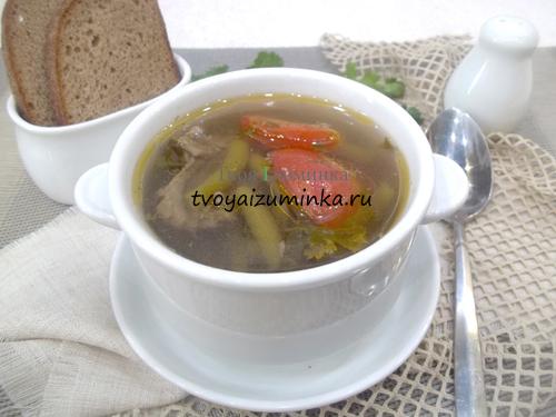 Куриный суп с помидорами и спаржей
