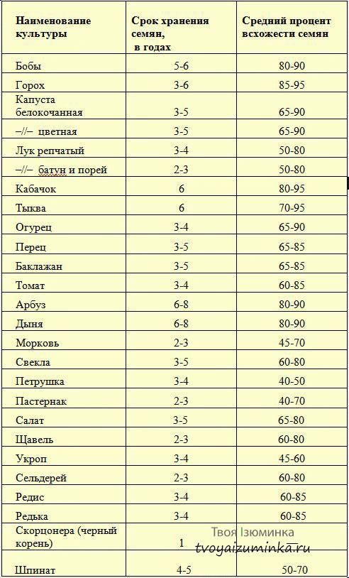 Таблица сроков годности семян овощей для рассады