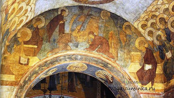 Фрески Рублева в Успенском соборе.