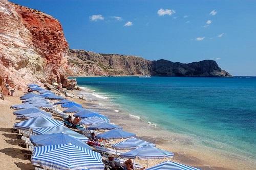 Пляж Папикину Милос, Греция.