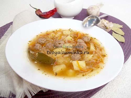 Суп с фрикадельками и капустой: легкий для желудка и простой в приготовлении