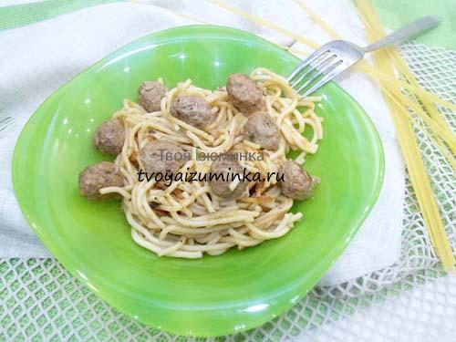 Спагетти с фрикадельками: рецепт на сковороде