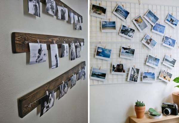 Фотографии на стене идеи на прищепках