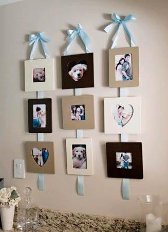 Фотографии на стене на ленточках