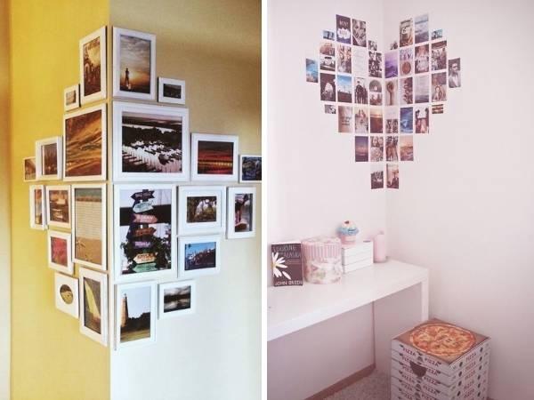 Оформление фотографиями в виде ромба и угла комнаты